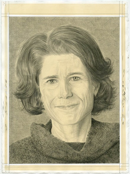 Portrait of Nancy Princenthal. Pencil on paper by Phong Bui.