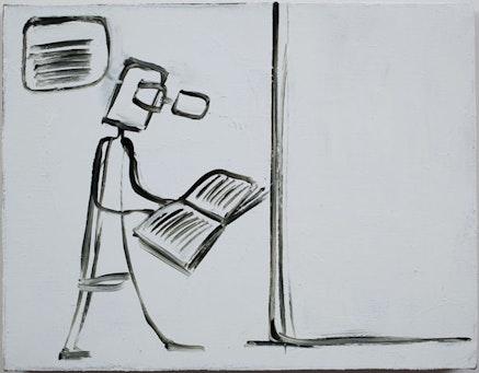 "Mira Schor, ""Read, Think, Walk,"" 2009. Oil on linen, 14 x 18""."