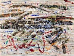 """Doug Argue, """"Drift Dive,"""" 2013. Oil on canvas. 68 x 92"""". Courtesy Doug Argue and Edelman Arts."""