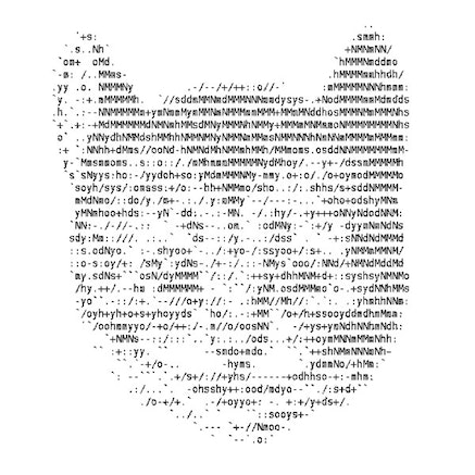 """""""Untitled."""" ASCII rendition of Sir John Tenniel's Cheshire Cat from Alice in Wonderland. Artist and date unknown. Dimensions variable. Courtesy gamecatandtheglitch.wordpress.com/."""