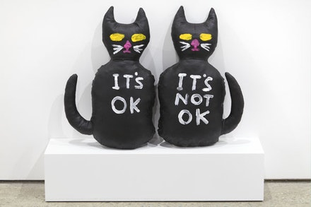 "David Shrigley, ""Cats (It's OK, It's Not OK),"" 2012. Acrylic on canvas stuffed with foam. 17 1/2 x 10 1/2 x 4 1/2"". Courtesy Anton Kern Gallery, New York."
