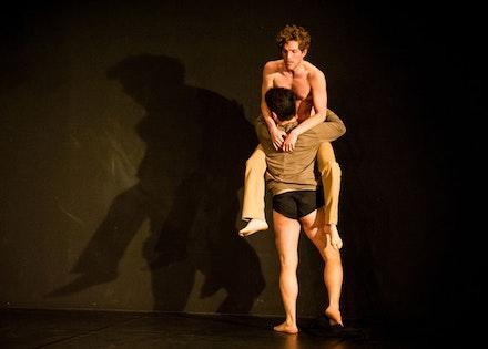 Benjamin Asriel and Kayvon Pourazar in Juliana May's <i>Commentary = not thing</i>. Photo: Ian Douglas.