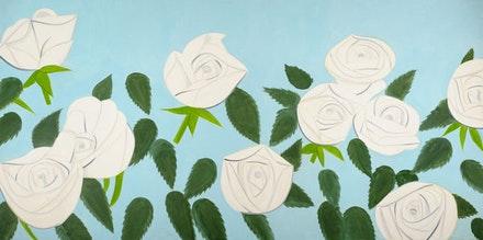 """Top: Alex Katz, """"Black Hat 2,"""" 2010. Oil on linen. 60 x 84"""". Bottom: Alex Katz, """"White Roses 9,"""" 2012. Oil on linen. 108 x 216"""". Collection of the artist. Photography by Paul Takeuchi. On view March 9 to July 7 at Museum der Moderne, Salzburg. Art © Alex Katz/Licensed by VAGA, New York, NY"""
