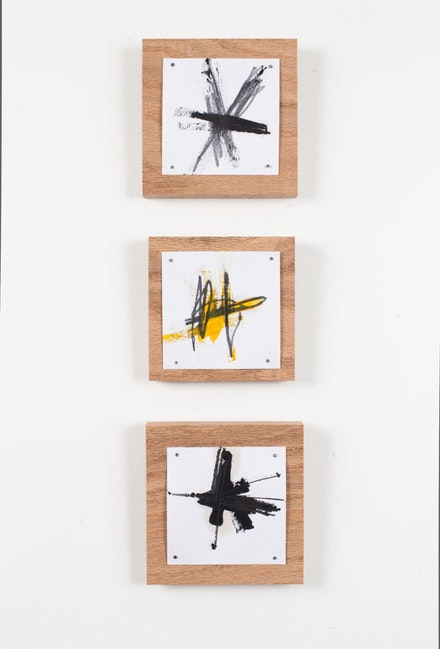"""Richard Nonas, """"Untitled (oil on paper mounted on canvas),"""" 2012. Wood, paper, oil paint. 5 x 5 x 0.75"""". Unique. Courtesy of the artist and James Fuentes."""