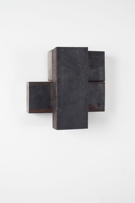 """Richard Nonas, """"Untitled (Wall Steel Piece),"""" Steel. Unique. Courtesy of the artist and James Fuentes."""