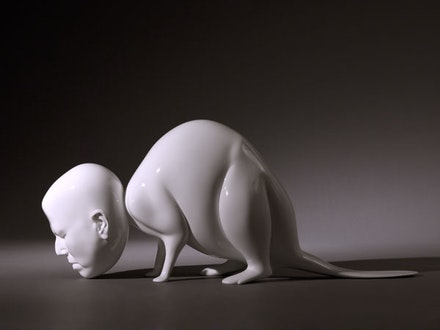 "Rona Pondick, ""White Beaver,"" 2009–11. Painted bronze, edition of three, 13 x 31 1/2 x 9 1/4"". Courtesy of Sonnabend Gallery, New York."