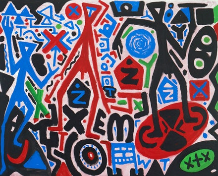 "A.R. Penck, ""Vorstoß (Advance),"" 2010. Acrylic on canvas. 63 x 47 ¼"". Courtesy Michael Werner Gallery, New York."