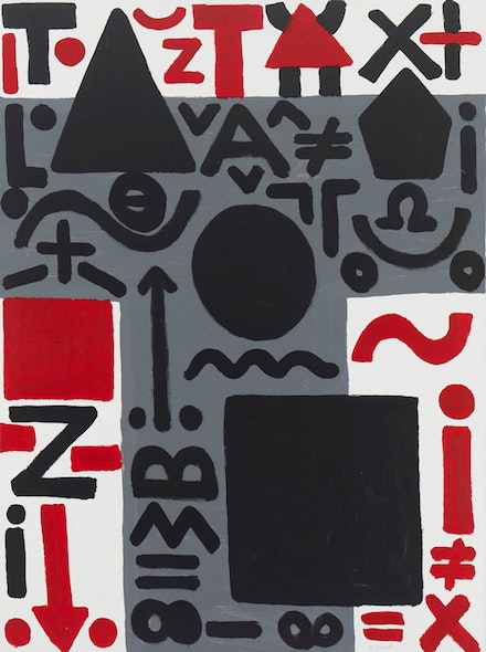 "A.R. Penck, ""Dreigeteiltes Problem (Tripartite Problem),"" 2011. Acrylic on canvas. 63 x 78 ¾"". Courtesy Michael Werner Gallery, New York."