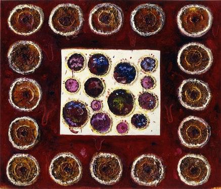<p>Joan Snyder, Ritual, 2001. Oil, acrylic, papier-m&acirc;ch&eacute;, burlap, and herbs on linen. 72 x 84 inches. (c). Photo: Steven Sloman.</p>
