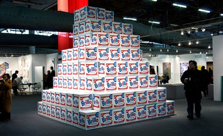 "Charles Lutz, ""BABEL (Brillo Stockholm Type),"" 2013. Silkscreen on cardboard. 17 x 14 x 17"" (each unit). Image courtesy Marsha Owett."