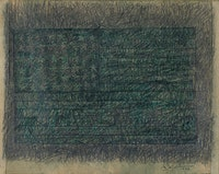"Jasper Johns, ""Green Flag,"" 1956, graphite pencil, crayon and collage on paper. © Jasper Johns / Licensed by VAGA, New York, NY."
