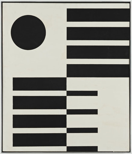 "John McLaughlin, ""Untitled,"" 1951. Oil on Masonite. 23 3/4 x 27 3/4"". Courtesy of Van Doren Waxter."
