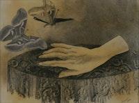 """Jindřich Štyrský, """"Alabastrová ručička [Little Alabaster Hand]"""" 1940. Pencil frottage & collage on paper 8 5/8 x 11 3/4"""". Courtesy of Ubu Gallery."""