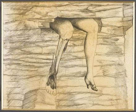 """Jindřich Štyrsky, """"Sen o opuštěném domĕ [Dream about a Derelict House],"""" 1940. Pencil on paper, 9 x 11"""". Courtesy of Ubu Gallery."""