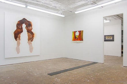 "L-R: Kellie Romany, ""Just The Tip,"" 2012, oil on canvas, 90 x 76""; Michael Bill Smith, ""Cardinal Tarcisio Bertone,"" 2011, acrylic, sparkly vinyl, glue, metal eyelets, upholstery tacks, 27 x 36""; Brian Hubble, ""Untitled (No Man's Land),"" 2013, stone tiles acquired from the United Nations building, 9 x 116""; Michael Ellis, ""Untitled,"" 2013, oil on panel; 33 x 22"". Images courtesy of parade ground gallery."