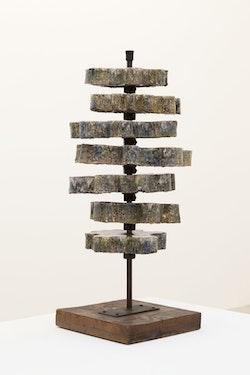 "Gianni Colombo, ""Costellazione Intermutabile,""1958. Ceramic. Sculpture: 29 1⁄2 x 13 x 13"". Base: 3/4 x 11 7/8 x 11 7/8"". Courtesy of Greene Naftali, New York. Photo: Martha Fleming-Ives."