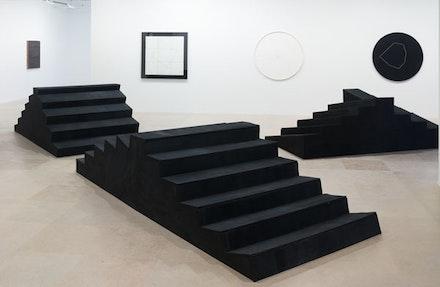 "Gianni Colombo, ""Bariestesia delle scale,"" 1974-75. Wood, paint and plastic; a: 30 3/4 x 146 x 59""; b. 38 1/2 x 113 1/4 x 59""; c. 35 1/4 x 127 5/8 x 60 1/2"". Courtesy of Greene Naftali, New York. Photo: Jason Mandella."