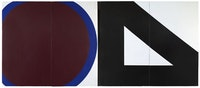 "Al Held, ""CIRCLE AND TRIANGLE,"" 1964. Acrylic on canvas. 144 x 336"". Courtesy Cheim & Read, New York."