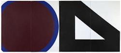 "Al Held, ""CIRCLE AND TRIANGLE,"" 1964. Acrylic on canvas. 144 x 336"". Courtesy Cheim & Read, New York."