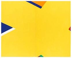 "Al Held, ""THE YELLOW X,"" 1965. Acrylic on canvas. 90 x 144"". Courtesy Cheim & Read, New York."