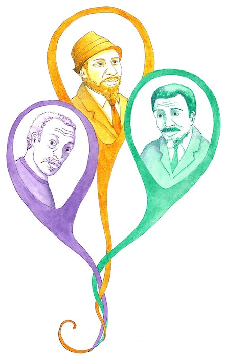 Cecil Taylor, Thelonious Monk, and Albert Ayler. Illustration by Megan Piontkowski.