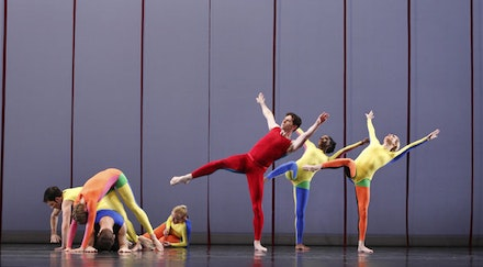 Paul Taylor Dance Company. Robert Kleinendorst, Amy Young, Michael Novak, Aileen Roehl, Sean Mahoney, Michelle Fleet, Jamie Rae Walker in Junction. Photo: Paul B. Goode.