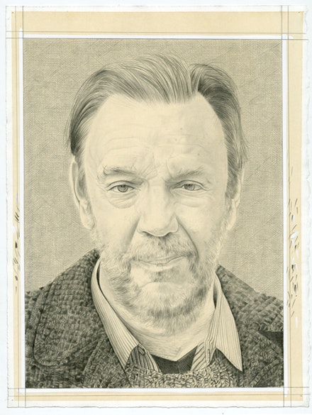 Portrait of David Carrier. Pencil on paper by Phong Bui.
