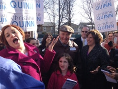 Quinn on her five-borough tour (3-10-13). Azi Paybarah / Capital New York.
