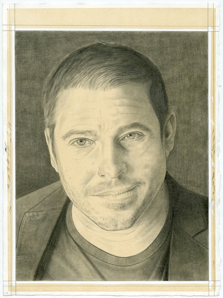Portrait of Nato Thompson. Pencil on paper by Phong Bui.