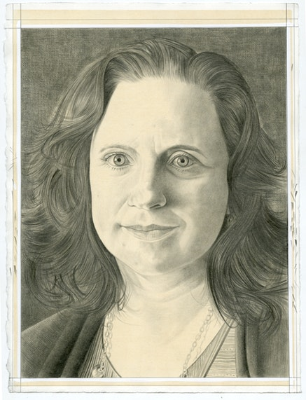 Portrait of Laura Raicovich. Pencil on paper by Phong Bui.