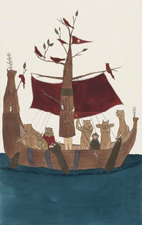 "Marcel Dzama, ""Sailors of the Red River"" (2005), ink and watercolor on paper"
