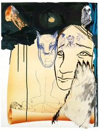 "Rita Ackermann, ""Blondes Never Sleep Tight,"" (2000), acrylic, acrylic ink, ballpoint pen and collage on paper."