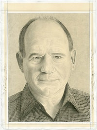 Portrait of Christopher French. Pencil on paper by Phong Bui.