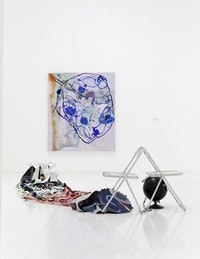 Installation view of <i>Painter Painter</i> showing two 2012 works by Molly Zuckerman-Hartung. Wall: