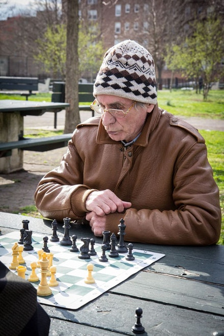 According to this Russian gentleman, my incessant chatter caused him to lose this game. Maybe that's why you won't find a single woman among the horde of men playing chess, checkers, dominoes, or cards.