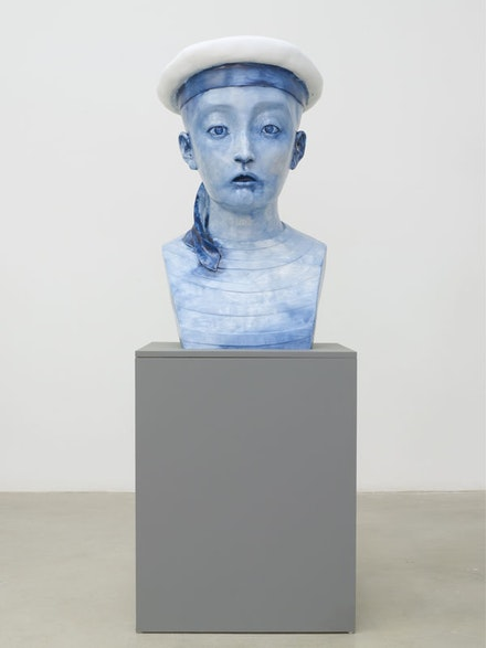 "Zhang Xiaogang, ""Child-Sailor,"" 2013. Painted bronze, 80-1/8"
