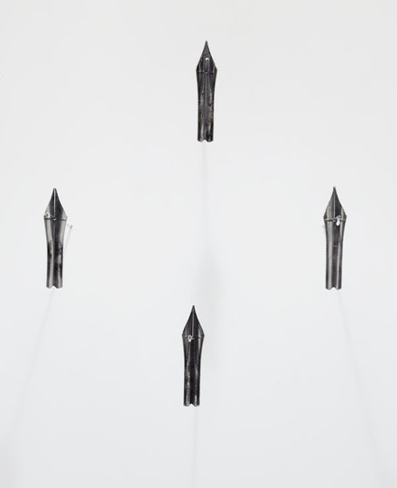 "Danh Vo, ""A Group of 4 Presidential Signing Pens,"" 2013. Metal, ink, 1 ¼ x ¼ x 1/16""/ea. Courtesy of the artist and Marian Goodman Gallery, New York."