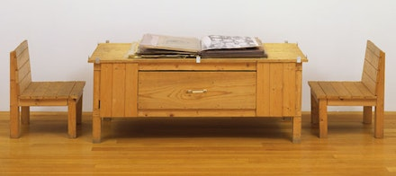 "Dieter Roth, ""Snow,"" 1964/69. Artist's book of mixed mediums, with wood table and two wood chairs. The Museum of Modern Art, New York. Committee on Painting and Sculpture Funds. Photograph: John Wronn. © 2013 Estate of Dieter Roth."