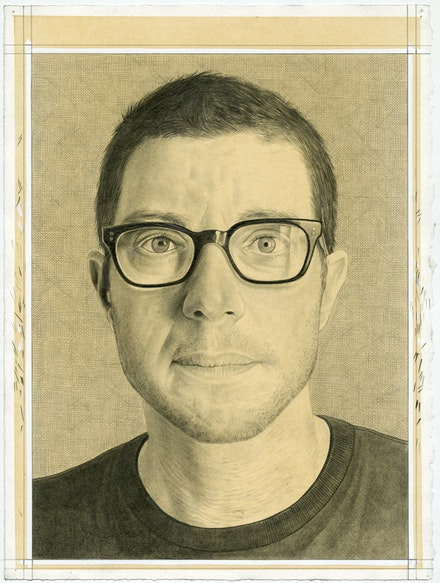 Portrait of Cary Levine. Pencil on paper by Phong Bui.