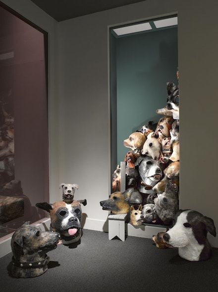Michael Ballou. Installation view of <em>Dog Years</em>, 2013. Blue foam, urethane foam, plaster, and paint, dimensions variable. Photo: Brooklyn Museum.