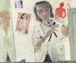 "Elena Sisto, ""Self-Portrait (with Van Dongen),"" 2011. Oil on linen, 33 x 40"". Image courtesy of the artist and Lori Bookstein Fine Art."