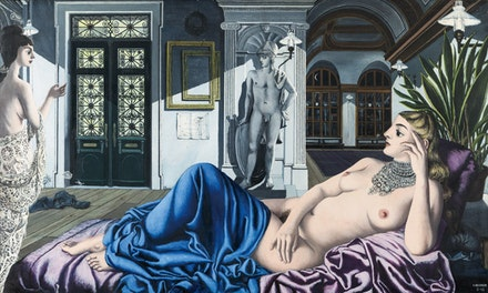 Paul Delvaux, L'Eloge de la melancolie, 1948. Oil on panel, 153 by 255 cm. Private Collection, Copyright Paul Delvaux Foundation, Belgium.