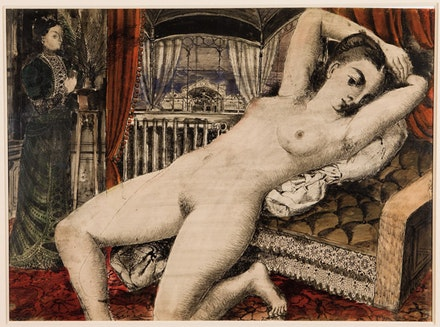 Paul Delvaux, La Gare de l'Est, 1957. Watercolor, pen and India ink on paper, 56.5 by 77.5 cm. Private Collection, Copyright Bill Orcutt.