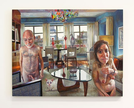"Mark Greenwold, ""A Jewish Couple,"" 2011. Oil on linen mounted on panel, 22 x 28"". Courtesy Sperone Westwater, New York."