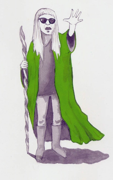 Keiji Haino (as Prospero). Illustration by Megan Piontkowski.