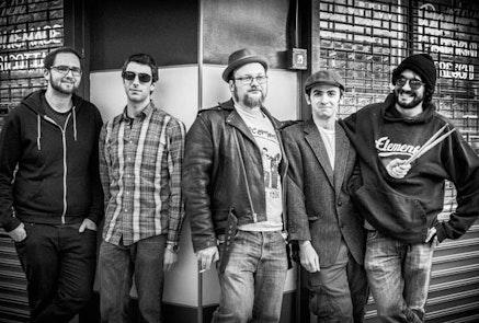 The Brooklyn What: Douglas Carey, John Severin, Jamie Frey, Evan O'Donnel, and Jesse Katz. Photo by Saskia Kahn.