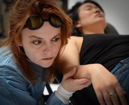 <i>Frankenstein Upstairs</i> featuring Kristen Vaughan as Victoria Frankenstein and Diana Oh as Marisol. Photo: Deborah Alexander.