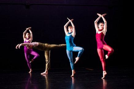 Sarah Haarmann, Pierre Guilbault, Maggie Cloud, and Melissa Toogood in Pam Tanowitz&#146;s <em>The Spectators</em>. Photo: Ian Douglas.