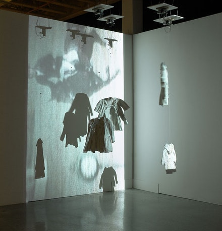 "Carolee Schneemann, ""SNAFU,"" 2004. Motorized sculpture with projection. Courtesy of the artist."