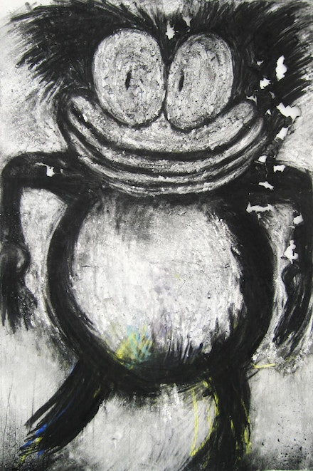 "Joyce Pensato, ""Splitting Hairs,"" 2008. Charcoal and pastel on paper, 59 1/4 x 40 1/8"". Courtesy of the artist and Petzel, New York."